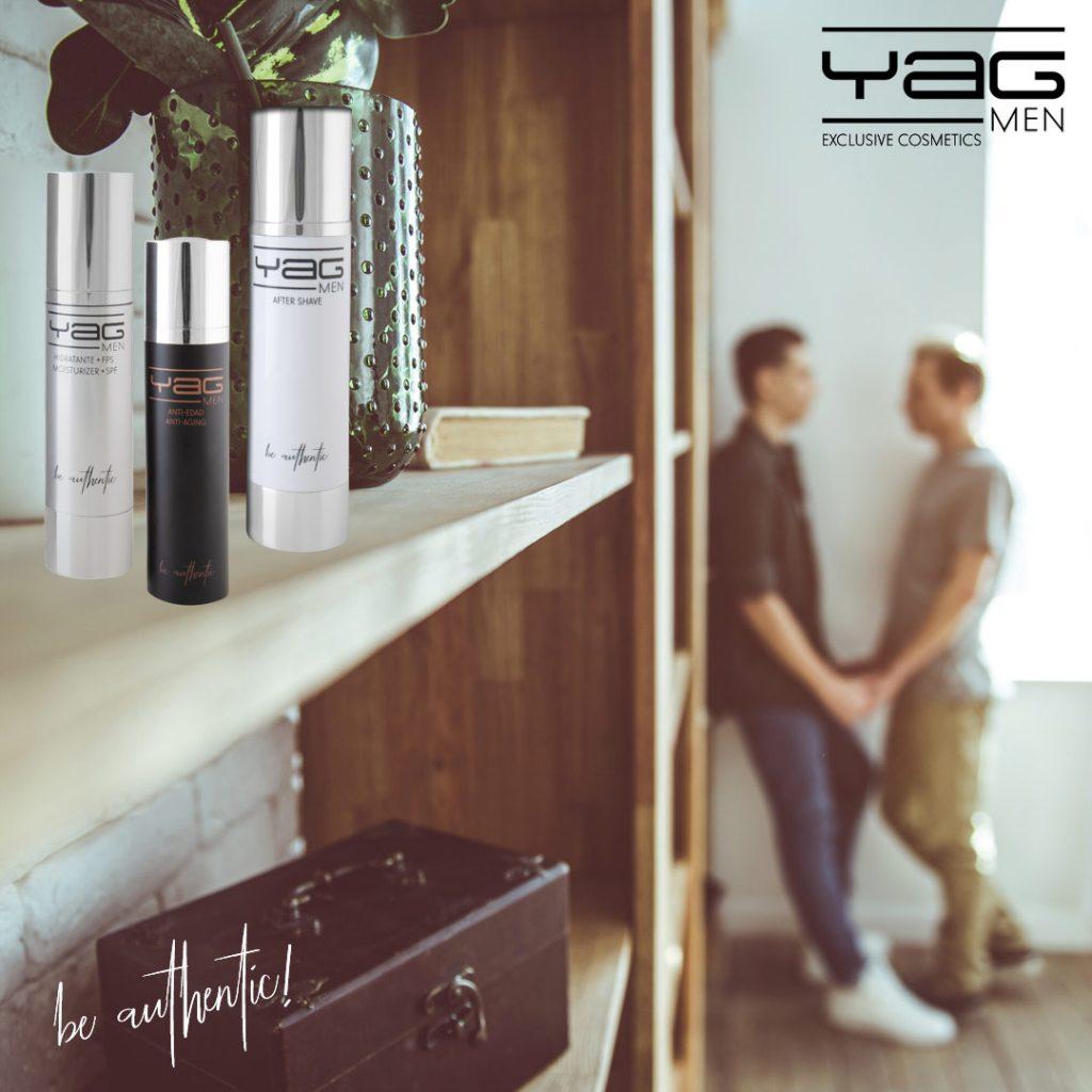 Hombres gais de la mano y YAG MEN cosmética masculina en estante